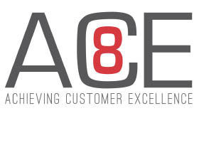 ACE Eight graphic logo, showing operational optimization. execution tactics to resolve projects, ROI objectives, and customer excellence. Measures