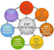 business process graphic with ERP in the center. Effective planning, coding, deployment, training, inventory planning Goals.