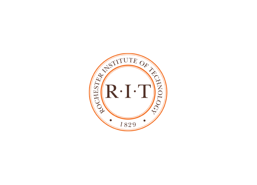 Rochester Institute of Technology Logo, RIT shapes the future and improves the world.